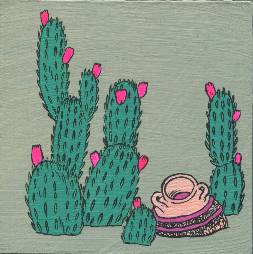 Cacti, tempera on wood, 5 x 5, $300