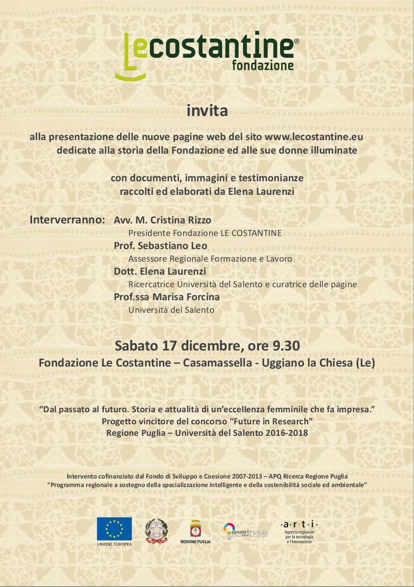 presentazione delle nuove pagine web del sito www.lecostantine.eu dedicate alla storia della Fondazione e alle sue donne illuminate