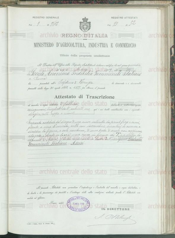 Attestato brevetto IFI