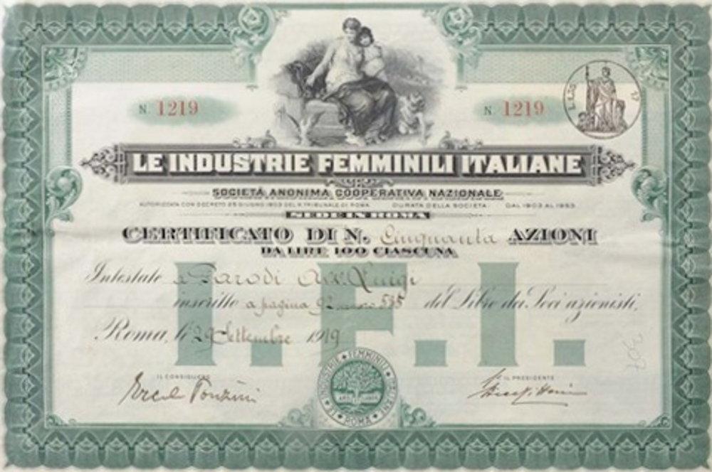 Attestato azioni delle industrie femminili italiane