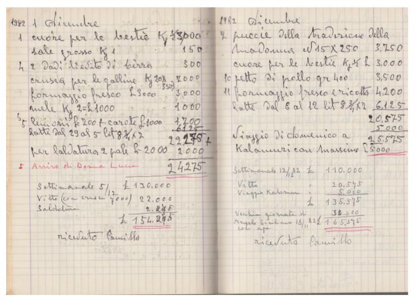 Pagine del quaderno dei conti di Giulia Starace e Camillo Paiano