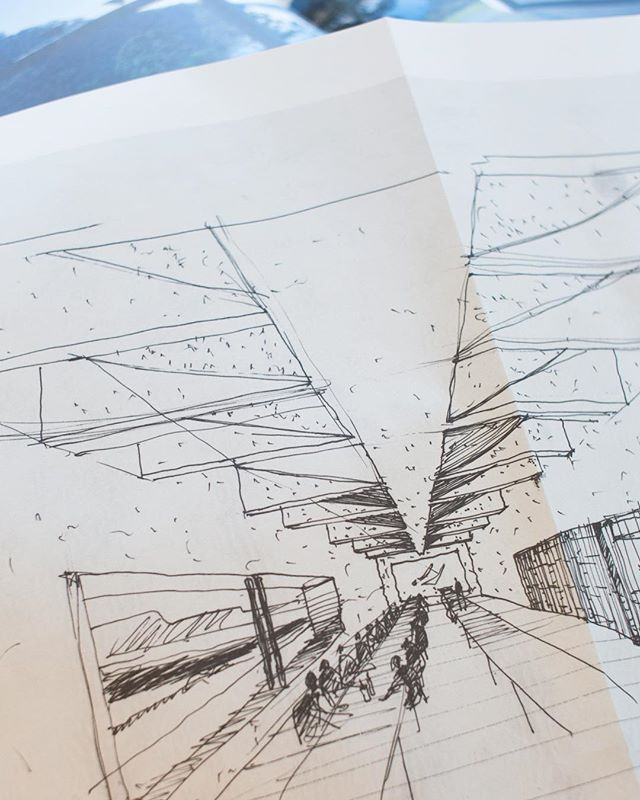 Perspective sketch of the interior of the hall. Arthur and Yvonne Boyd Education Centre, Riversdale, 1999. By Glenn Murcutt, Reg Lark, Wendy Lewin. . . . . . . . . #glennmurcutt #glennmurcuttmasterclass #architecture #architecturelovers #australianarchitecture #archidaily #design #designinspiration #book #glennmurcuttfolio #touchtheearthlightly #architect #book #sydneylocal #architecturebooks #australiandesign #arthurandyvonneboydeducationcentre #riversdale #reglark #wendylewin #sketch #architecturaldrawing