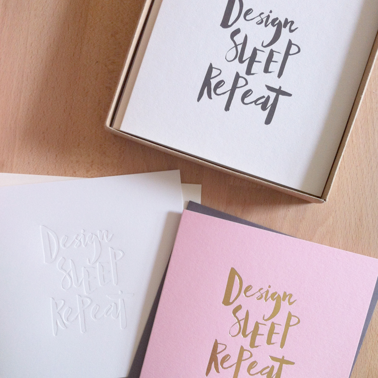 Design Sleep Repeat cards designed by Abigail Warner and printed on GF Smith paper