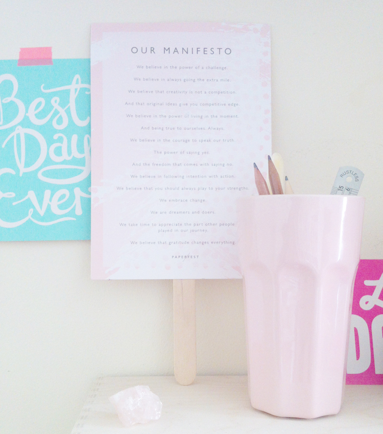 The Paperfest manifesto has a home right above my desk!