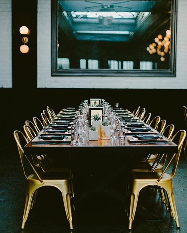 """We couldn't agree more! We ❤️ these gold Tolix chairs from @broadwaypartyrentals paired with our custom farm tables. . Repost from planner @ashleymchamblin: """"One of the things I talk about a lot with clients on a budget is what are big impact design items or rentals. Chairs make a huge impact in the look of the space, take these beautiful gold tolix chairs which transformed the room 😍✨ 📷 @ambergressphotography . . . . . #501union #nyweddingvenue#brooklynweddingvenue #weddingdesign #goldwedding #engaged#engagedinnyc #nywedding #openhouse#eventspace #weddingvenue#wherewillyoucelebrate#501unionwedding #501unionweddings#gowanushospitality#brooklynweddingvenue#brooklynwedding"""