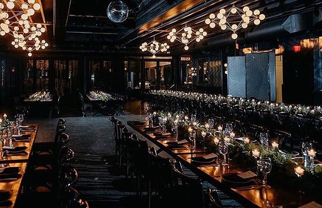 Dark + moody vibes set the stage for the ultimate dinner party at C+M's winter wedding. You can never have enough candles, can you? ✨🖤🍷 . Photo by @wildescoutphoto.co | Planner @yourrunwayevent | Florals @essenceotgarden