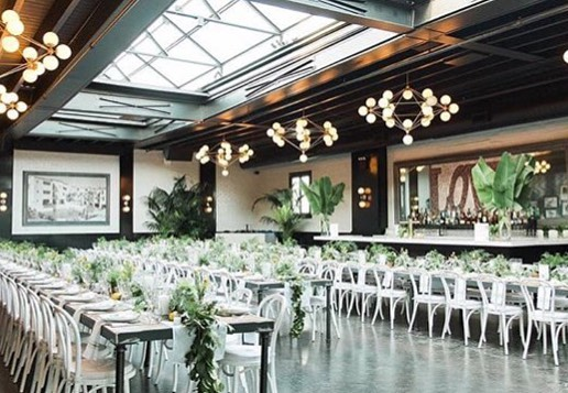 Love to see the venue so bright! The crisp white chairs and bright green palms remind us summer is not over yet! Photo by @bashful_captures #501union#brooklynvenue#501unionwedding