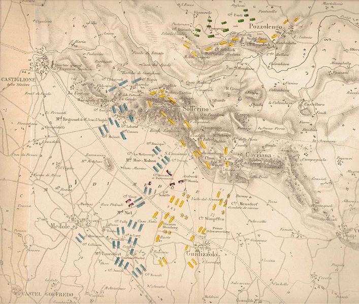 Loscontro di Solferino e San Martinoin una carta francese del 1859. In verde le unità piemontesi, in azzurro quelle francesi, in giallo quelle austriache. Da Wikipedia, l'enciclopedia libera.