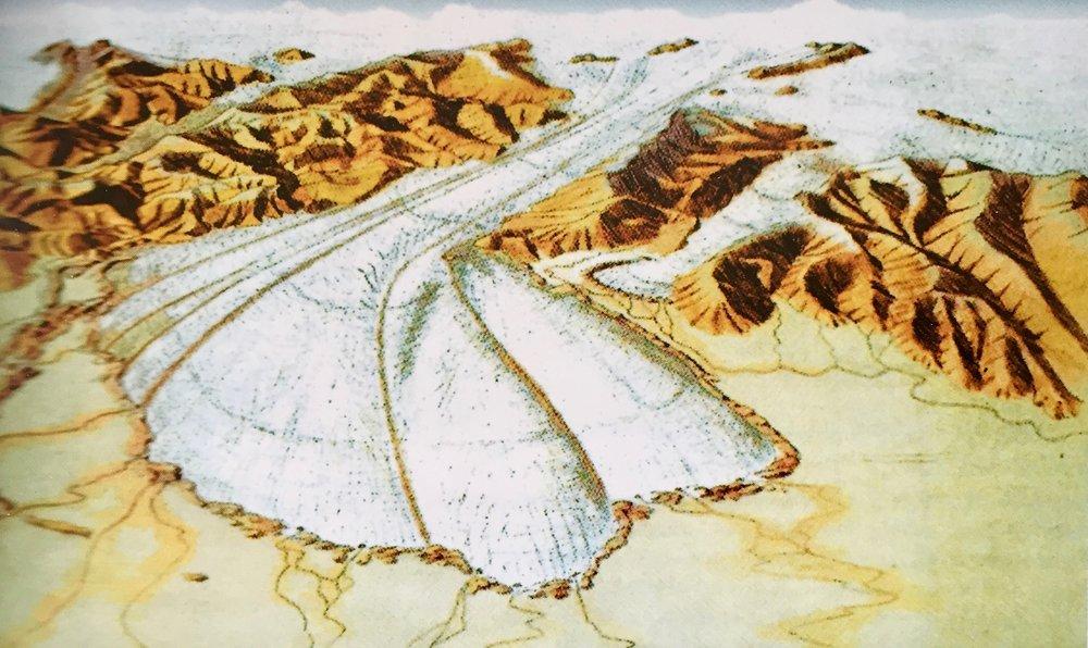 Il ghiacciaio,250,000-100,000 anni fa.  Portando verso sud vari materiali:rocce, ciotoli, ghiaia e sabbia.