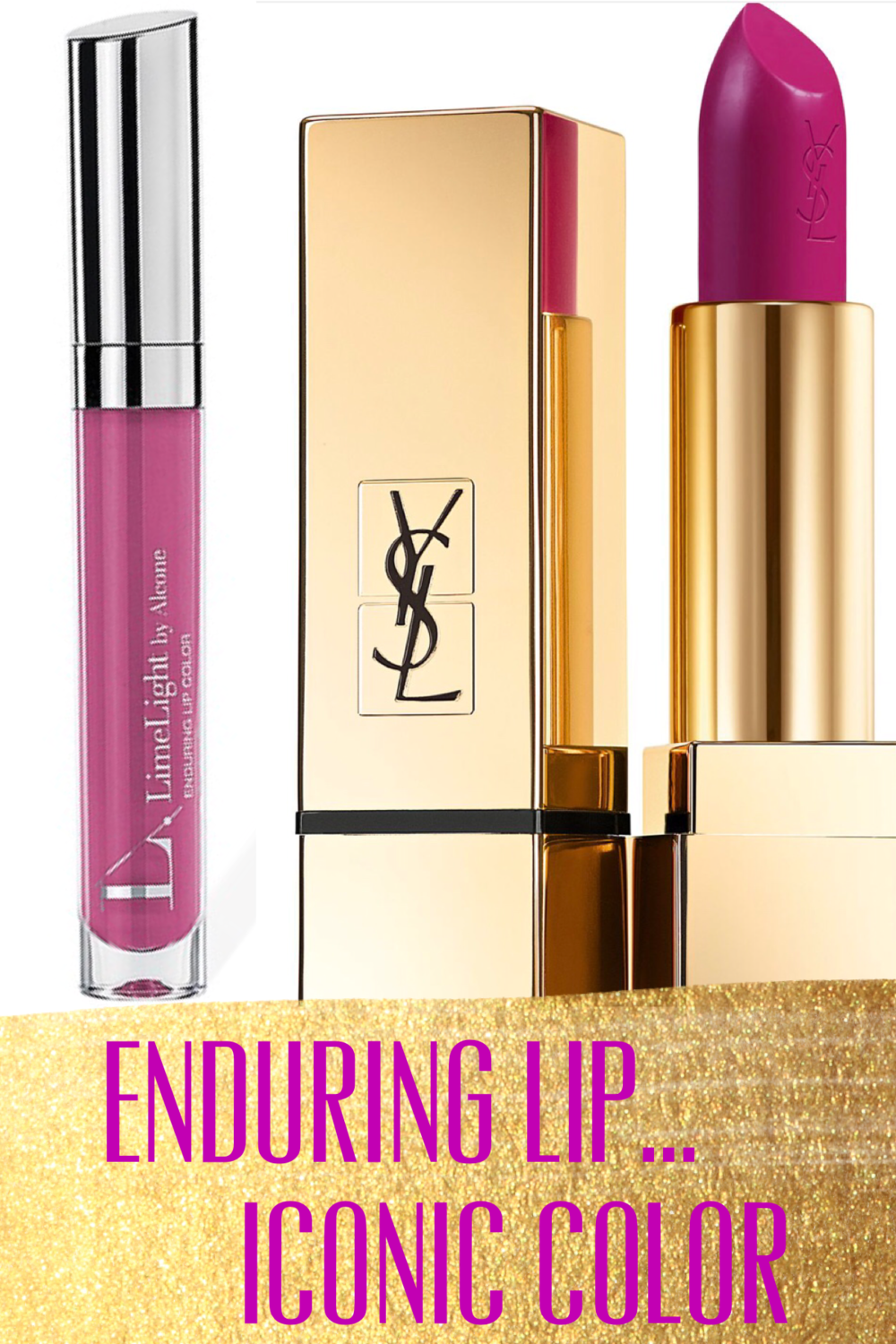 Limelight by Alcone Enduring Lip in Cake Pop ($20) & YSL No. 19 in Fuchsia Rouge Pur Couture ($37)