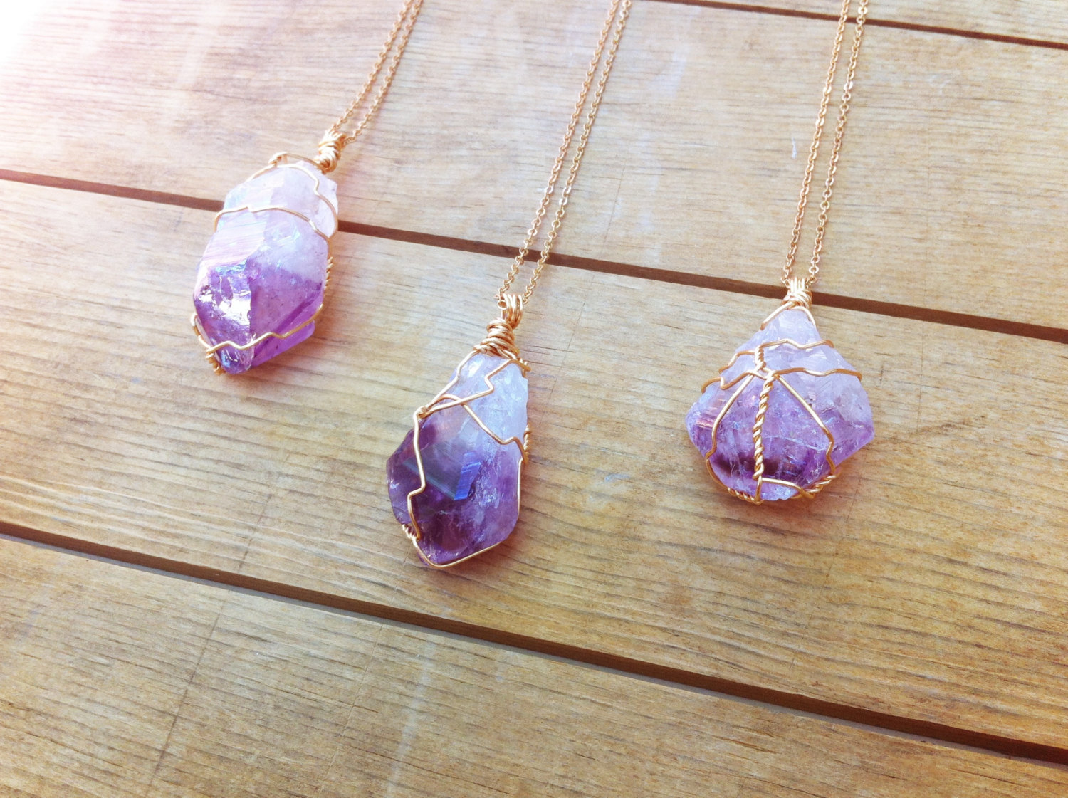 raw gold purple necklaces pendant slice crystal natural quartz jewelry geode chain amethyst