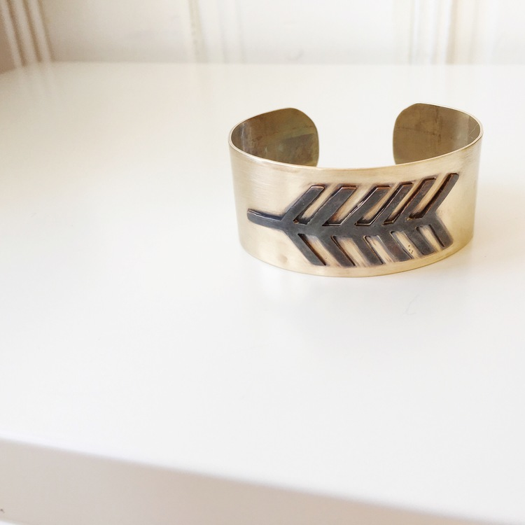 Mixed Metal Feather Cuff | Retail $118
