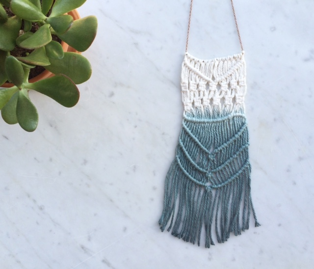 Dip-Dyed Macrame Necklace | Retail $48