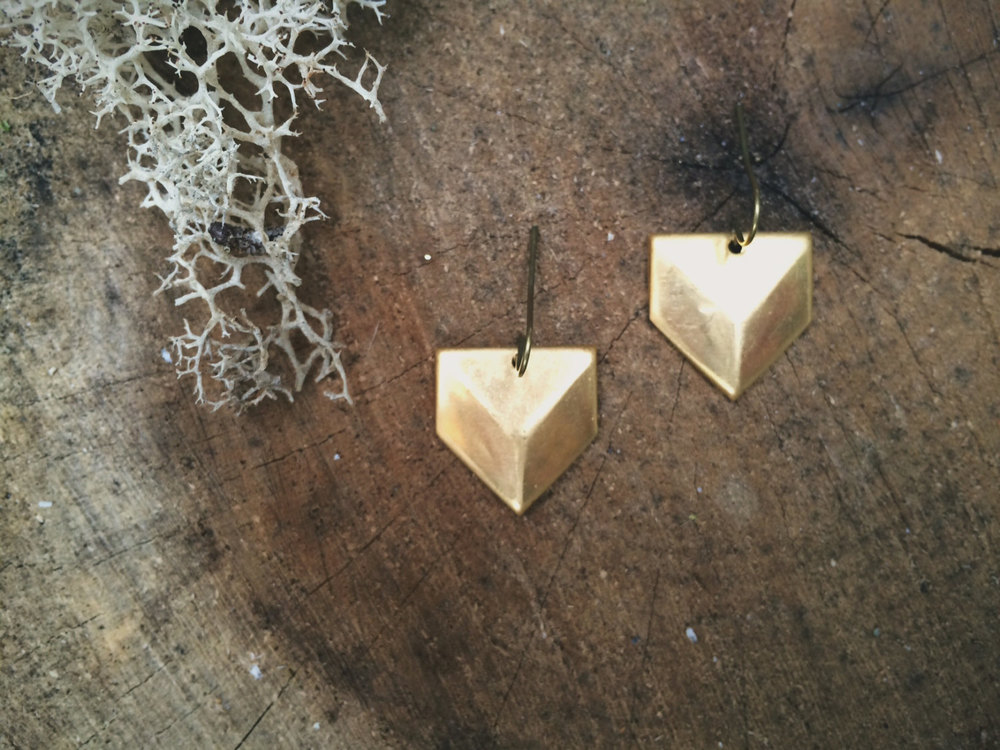 Brass Chevron Earrings | Retail $16
