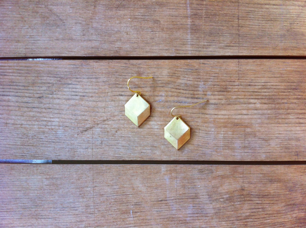 Brass Diamond Earrings | Retail $16