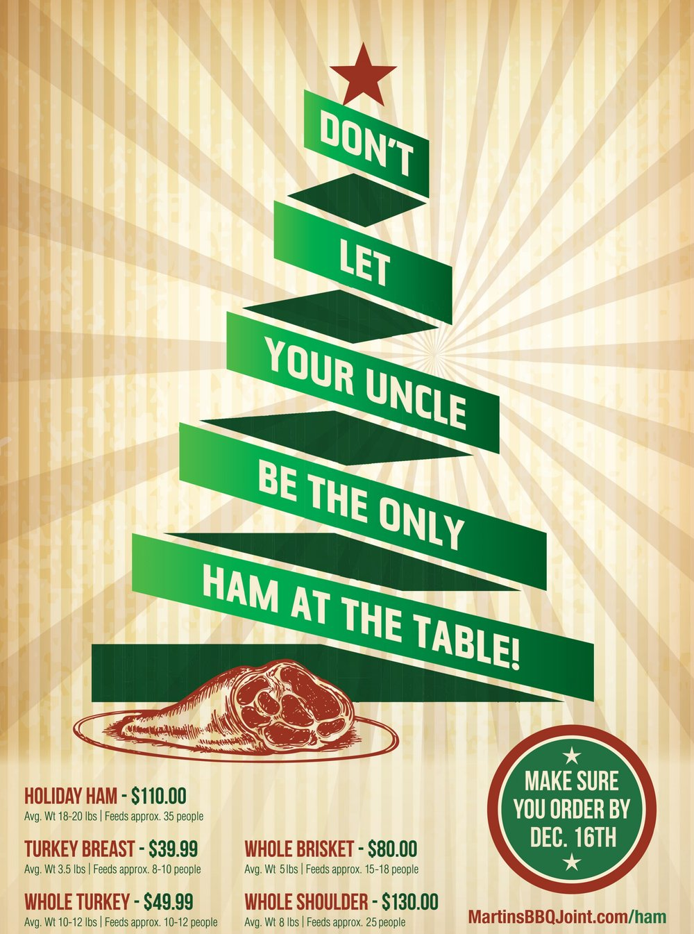 Order your Holiday ham and more from Martin's Bar-B-Que Joint