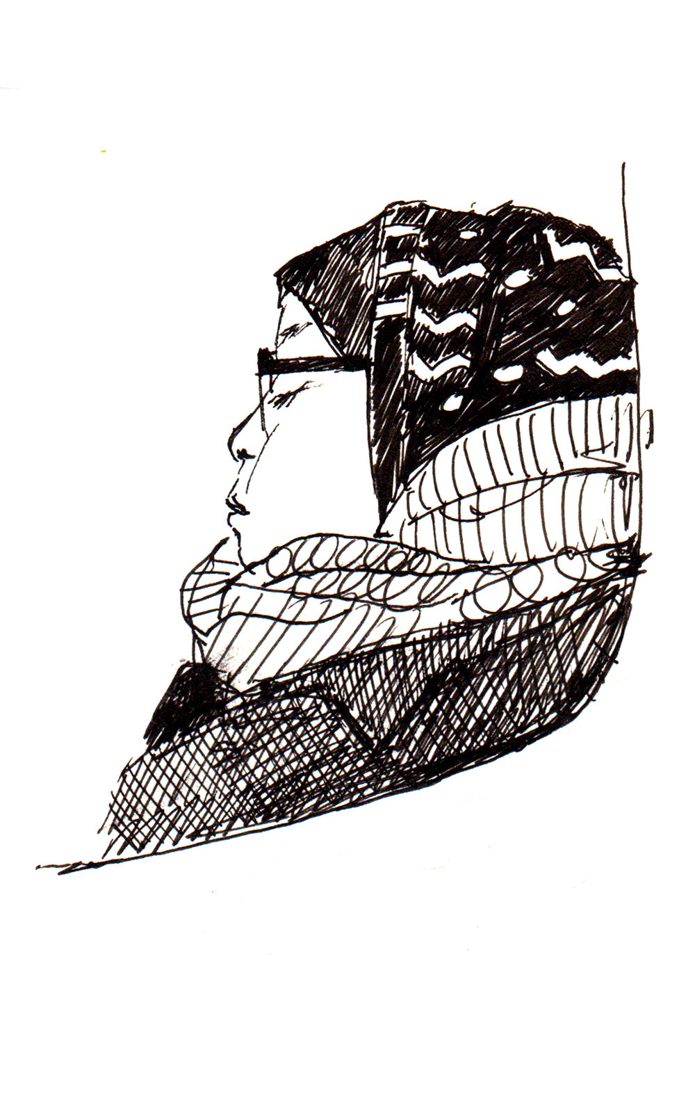 TTC Sketch - Sketch of a woman on the ttc. Ink on paper.