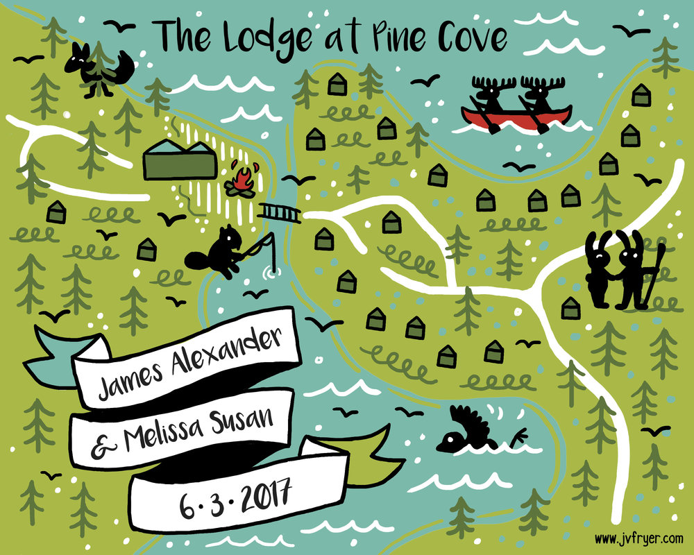 Pine Cove Wedding Map - Map a couple printed as a wedding favour. Digital.
