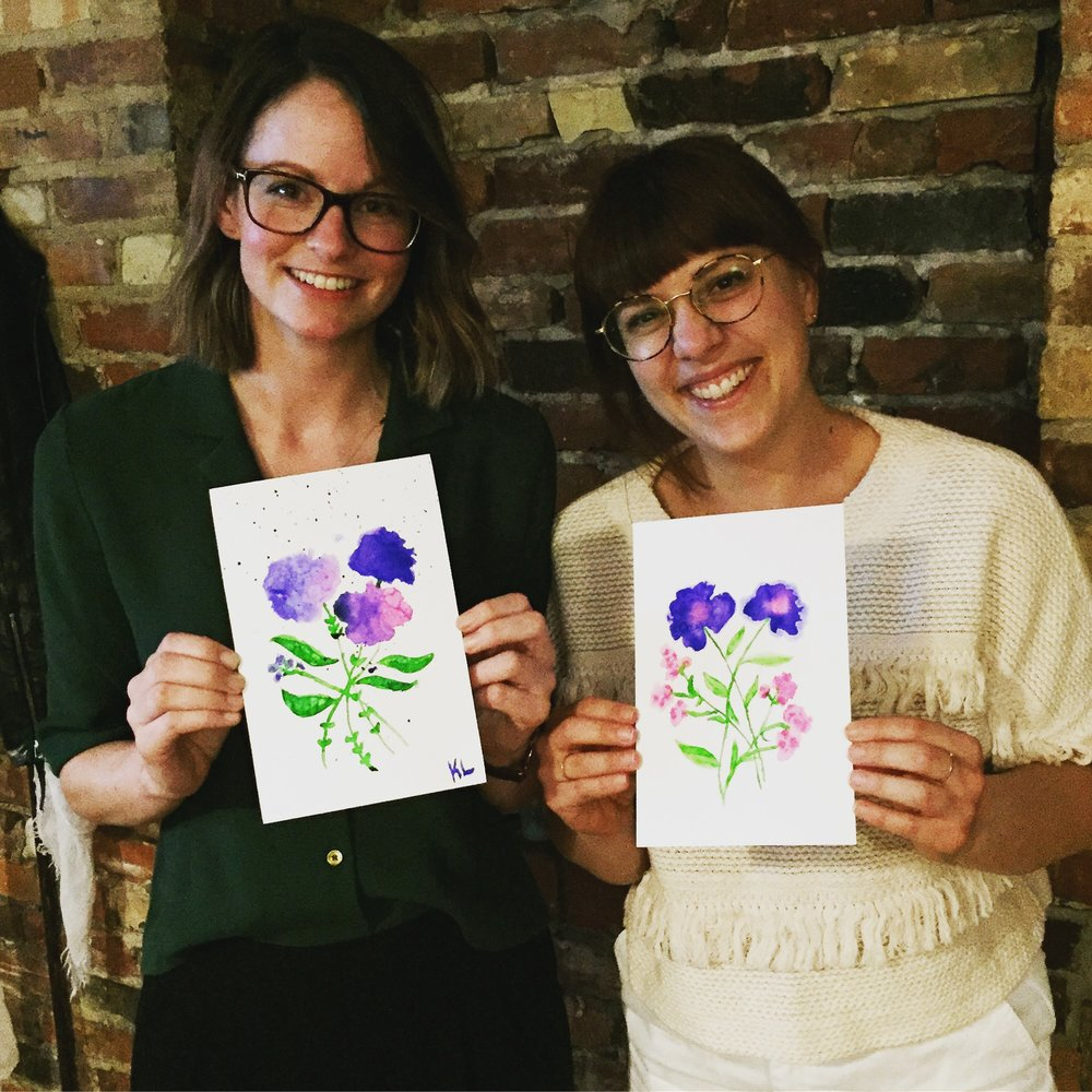 Floral watercolour workshop at the Gladstone Hotel in Toronto