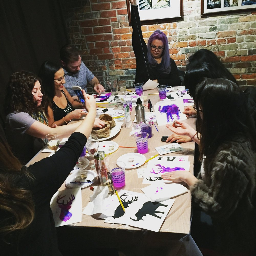 Tequila + watercolour workshop at the Gladstone Hotel in Toronto