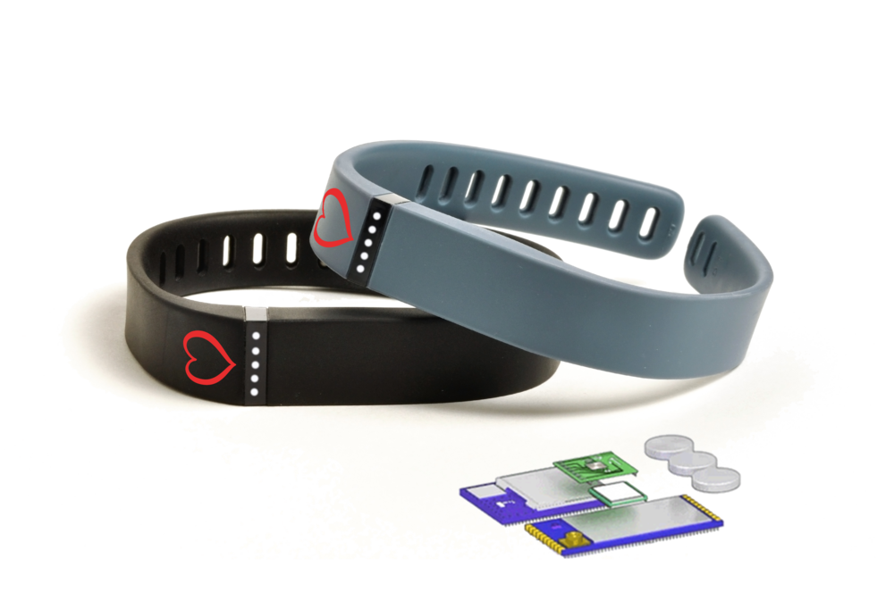 Image of two HeraTrack bracelets stacked on top of one another with technology and battery schematic.