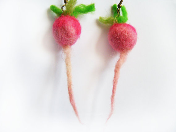 Adorable. ADORABLE.  Felted radish earrings . Oh but jeez, there's  tons of cute felt radishes !!Also check out this cute  beet necklace .