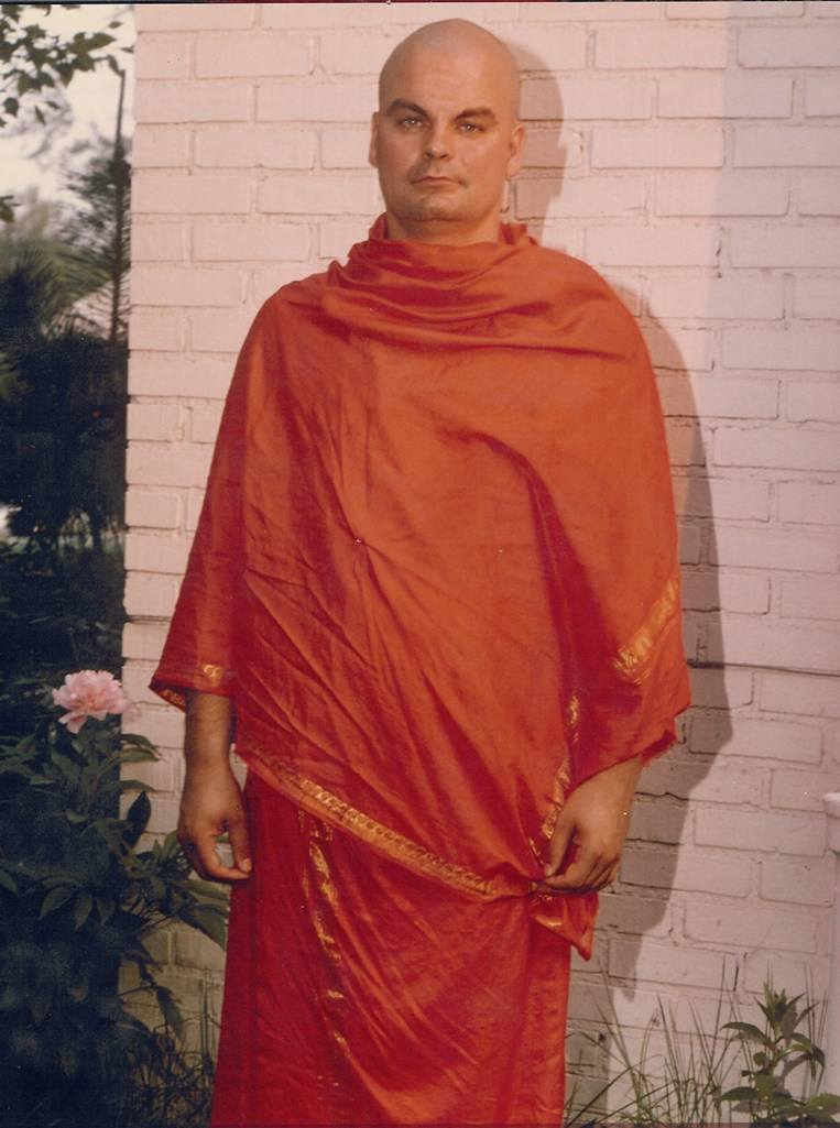 Swamiji in Bloomington in 1978 after his return from India and taking sannyas.