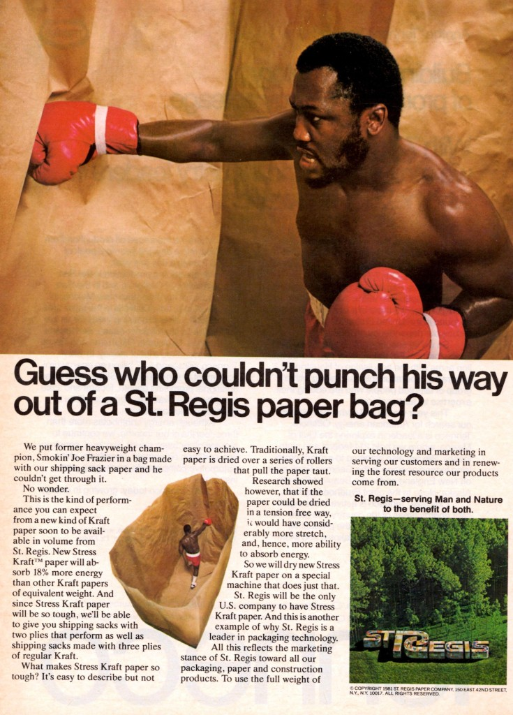 Print version of ad with Smokin' Joe Louis.