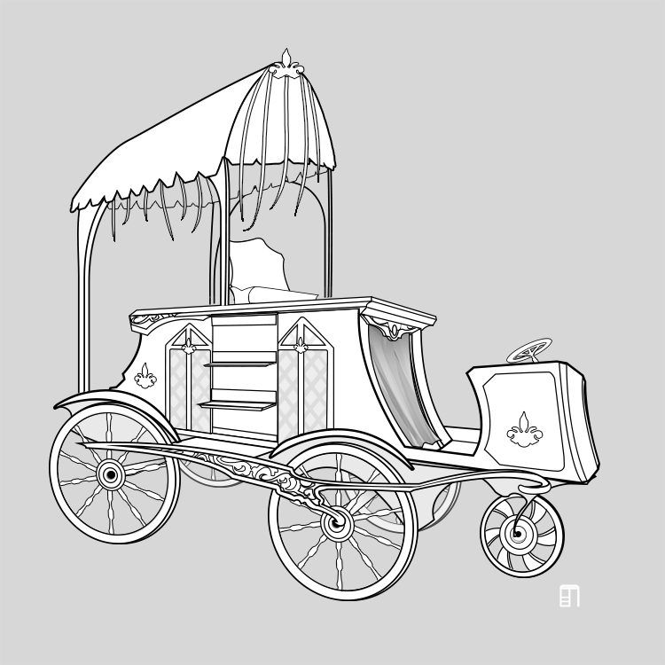 Fantasy Carriage Line Art
