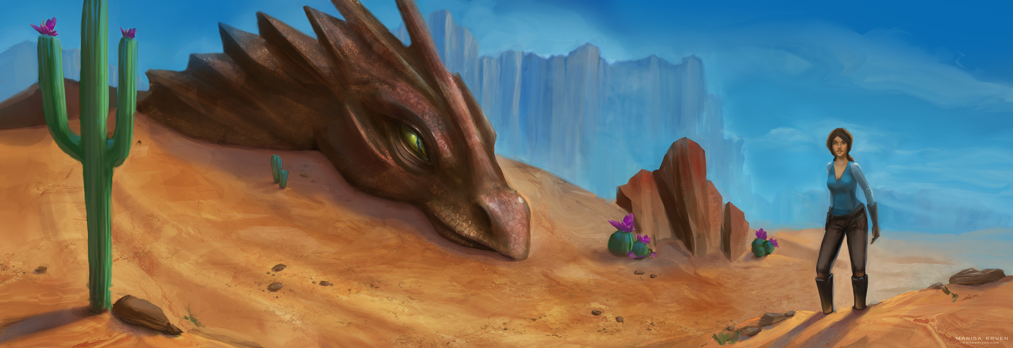 dragon observing desert explorer