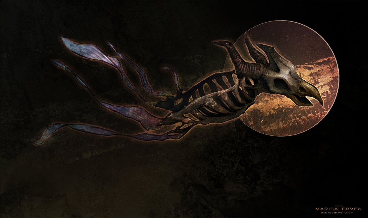 creature concept skeletal flying