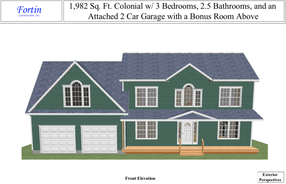 Colonial home design fortin construction custom home for House plans with 3 car garage and bonus room