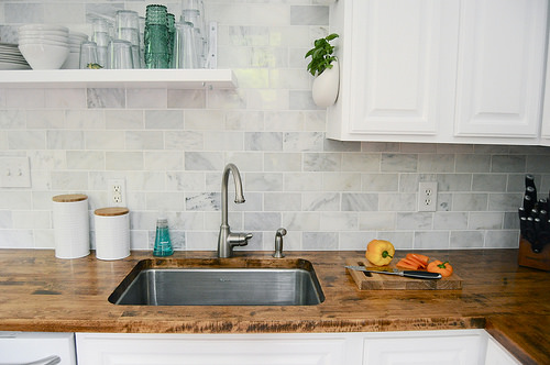 Wood countertops are one of the most sanitary options for a kitchen countertop material and are also highly heat-resistant.