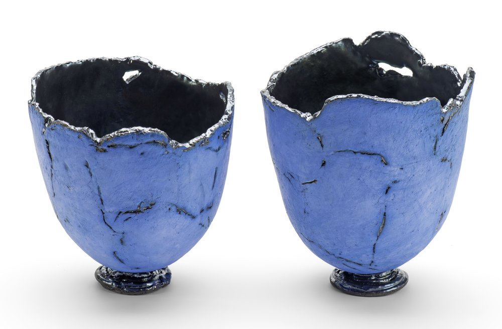 stoneware with cobalt  metallic interior  14.5 cm high