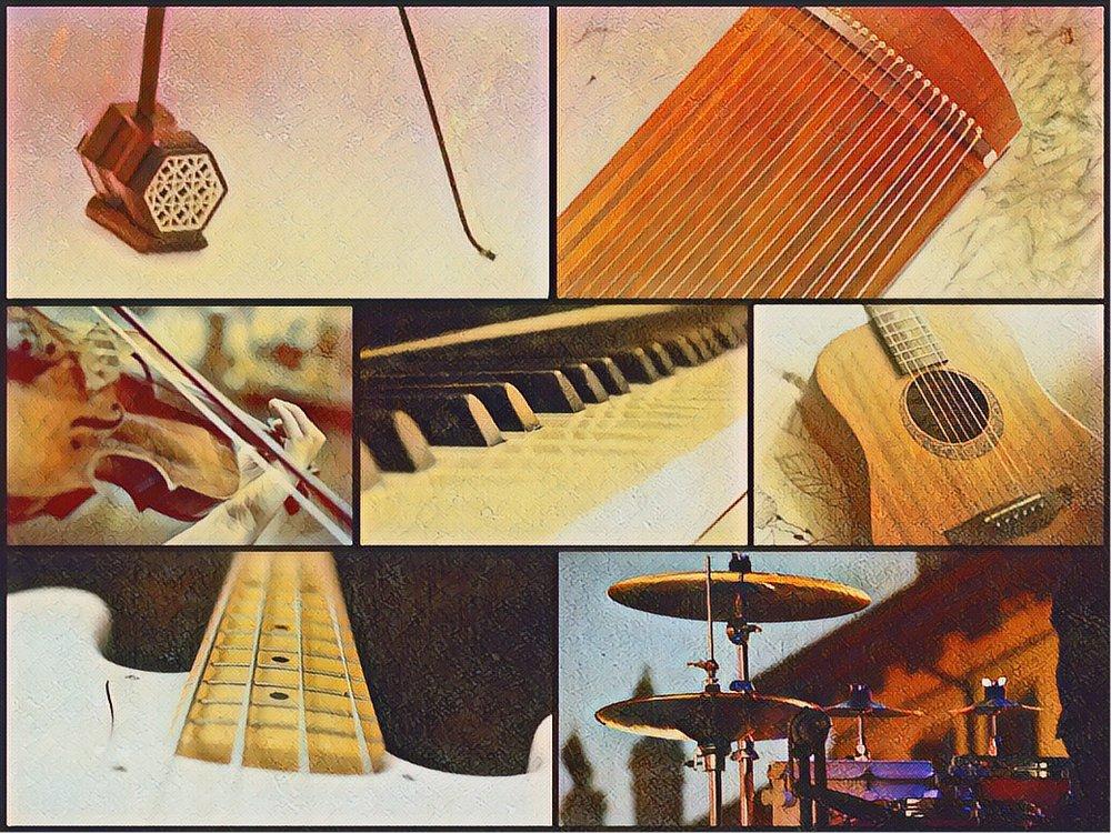 中西合壁組合 - Suggested Combination 5- Zheng 古箏- Erhu 二胡- Violin 小提琴- Digital Piano 數碼鋼琴- Acoustic Guitar 木結他- Bass Guitar 低音結他- Drum Kit 流行鼓