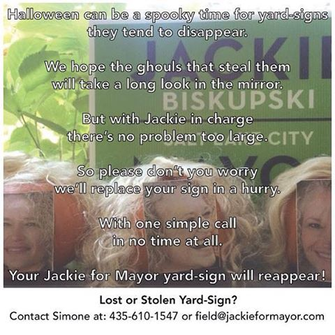 A special #halloween message: be safe, share, slow down, and please don't steal yard-signs. #vote
