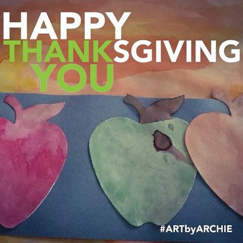 Archie and I want to wish you all a Happy Thanksgiving. Thank you for all your kindness and support throughout the year. #thanksgiving #ARTbyARCHIE
