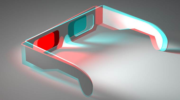 The glasses have two lenses, one red, one blue. The red lens filters the blue channel, the red channel filters the blue.