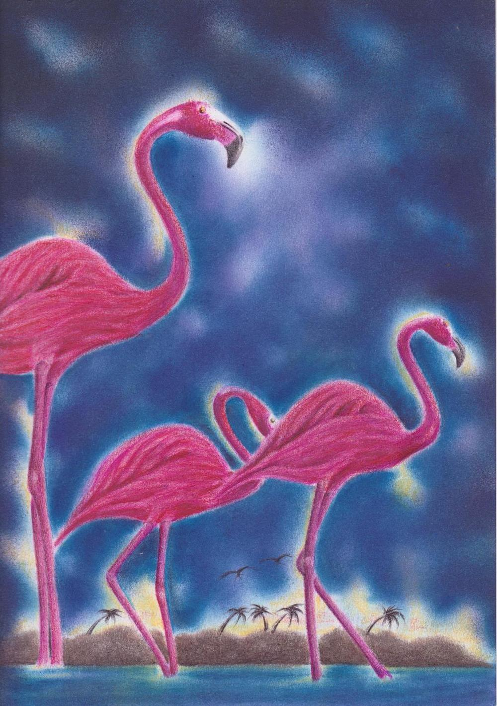 Flamingos by Uvaldo Nevarez (Pastel Drawing) 001a.jpg