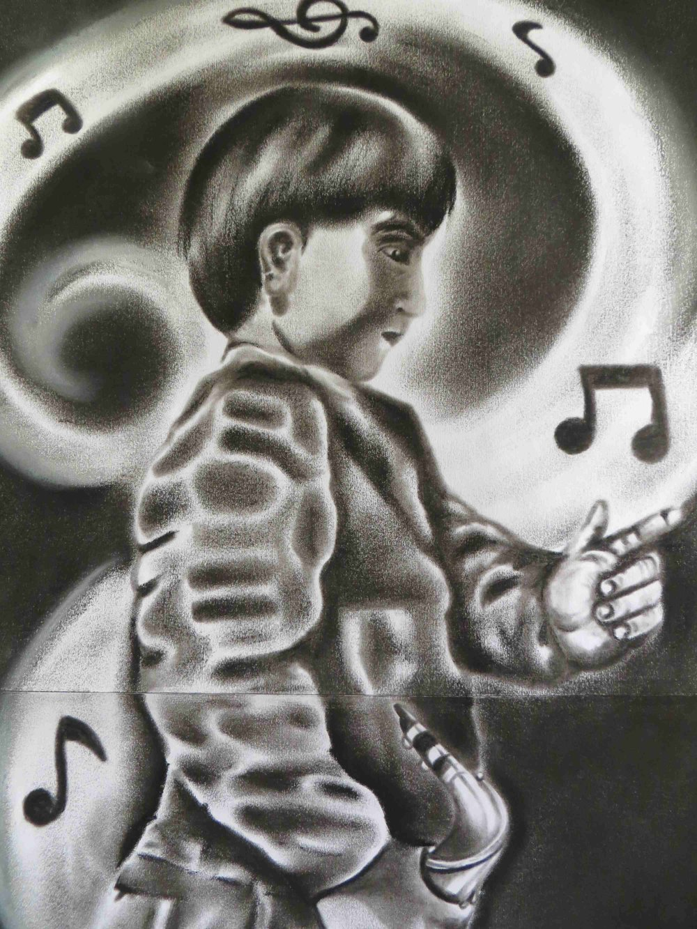 Child playing Saxophone by Victor Garcia
