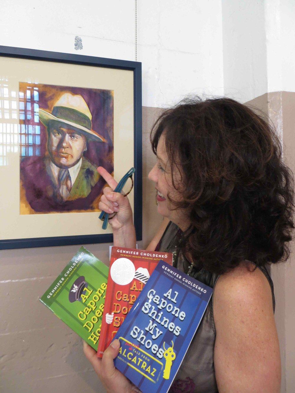 Gennifer Choldenko, her books and Capone.jpg