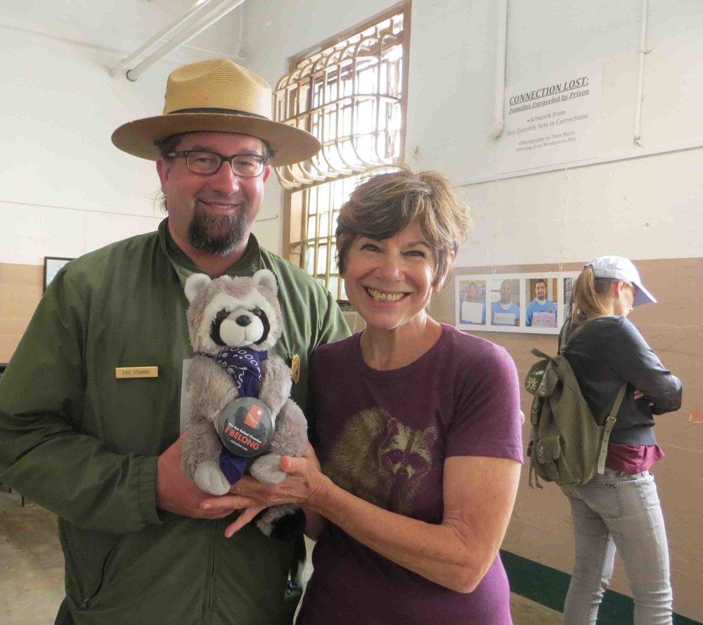 Rapahel the Raccoon with Ranger Eric Stearns and Leslie at Alcatraz-004 - Copy.jpg