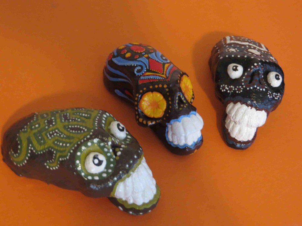Dios de la Muerte mini skull handcrafted sculptures by Various Inmate Artists