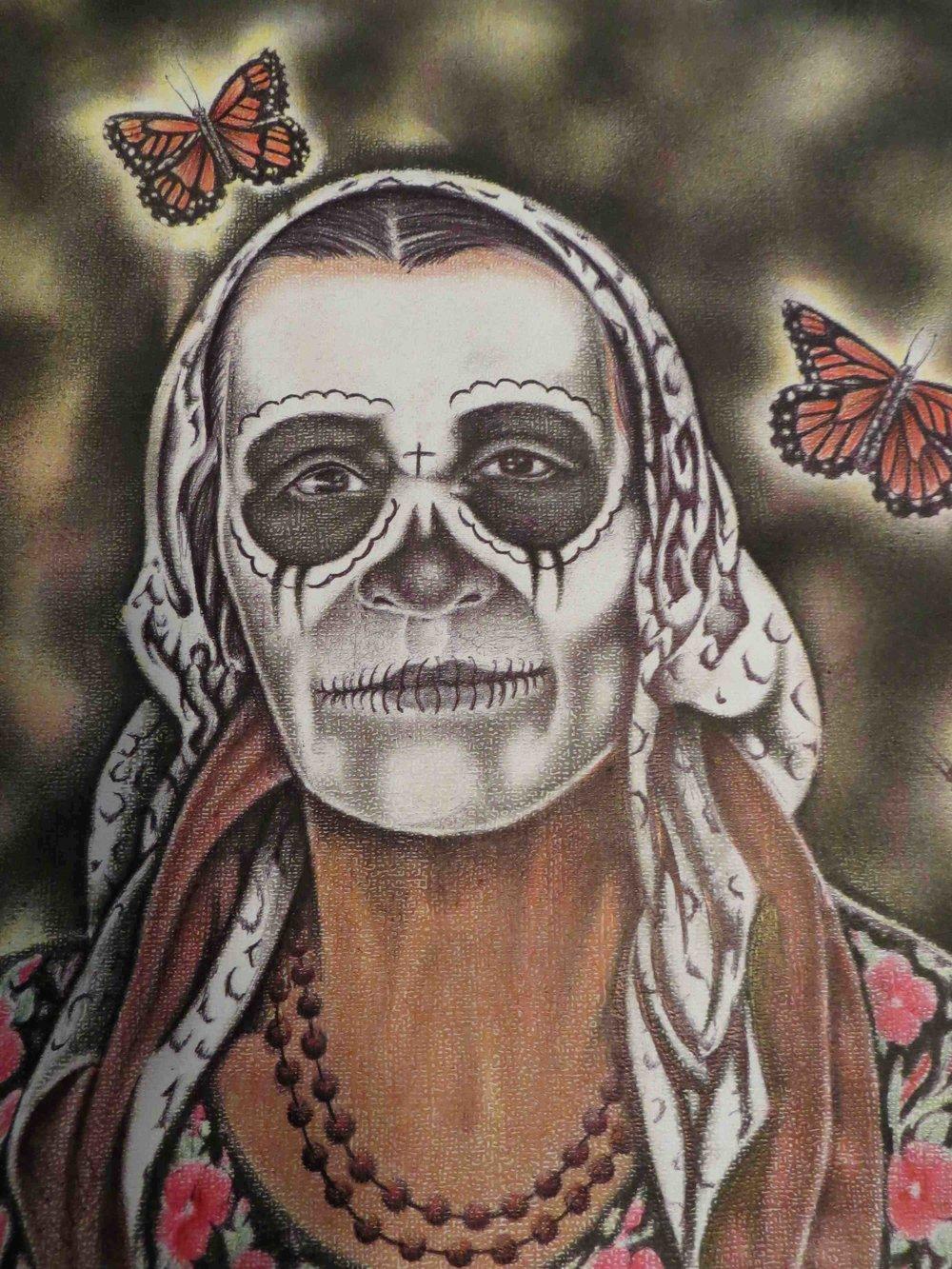 Dios de la Muerte pastel and ink drawing 9-3/4 x 12 by Uvaldo Nevarez
