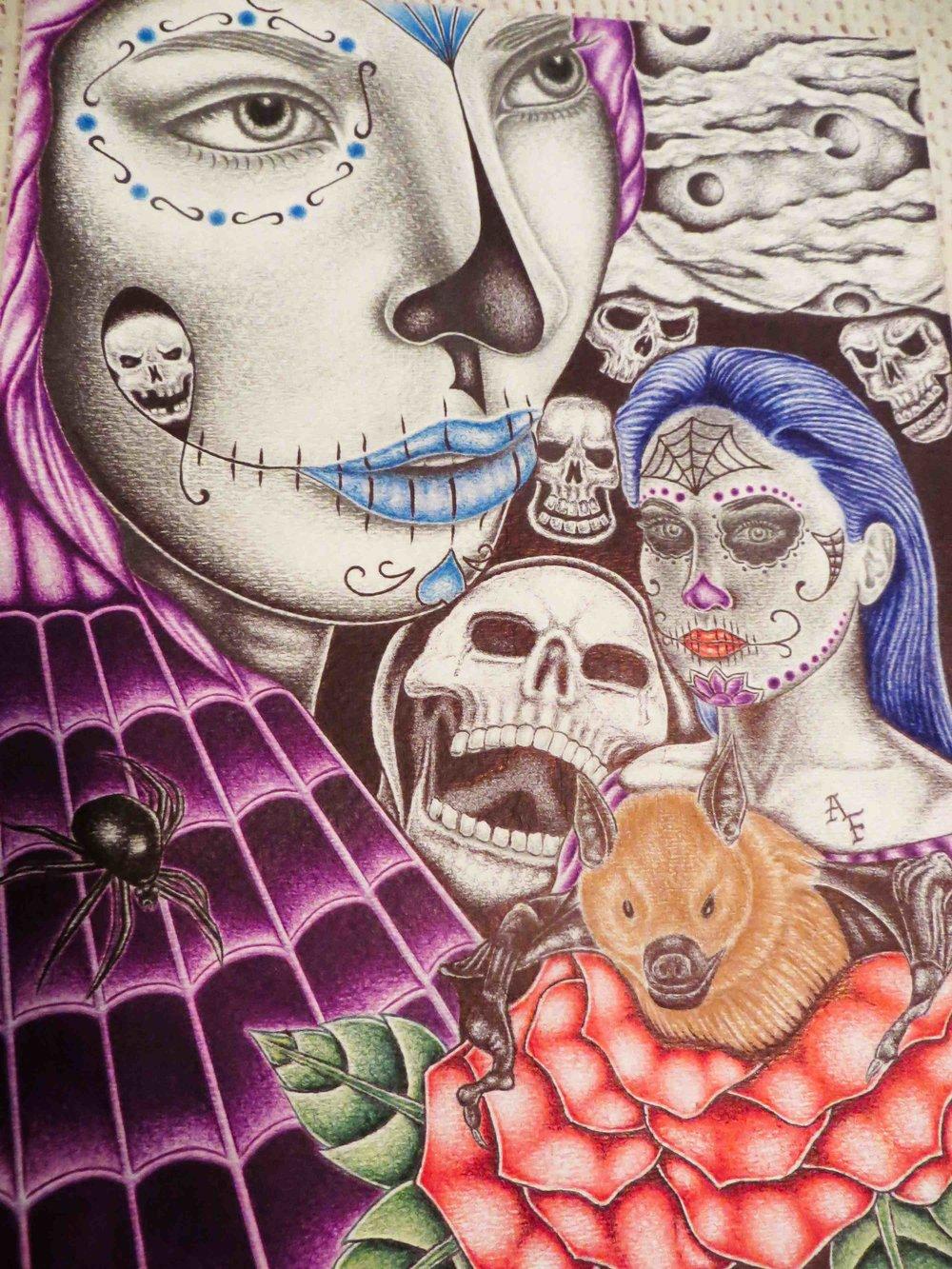 Happy Halloween/Dios de la Muerte color pen drawing 9x12 by Adam Flores