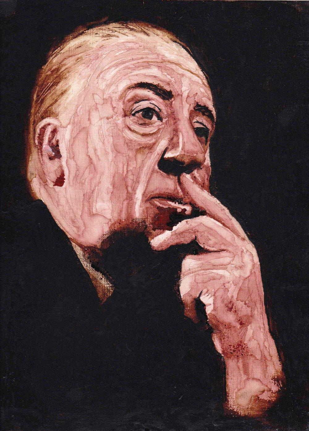 Alfred Hitchcock painting by Ely Legerdemain-Alfred Hitchcock Mixed Media inlcuding Coffee by Ely Legerdemain Utah - Copy.jpg
