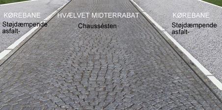 Midterrabattens smukke chaussésten bliver etforskønnelses-element i vejprojektet. Man må håbe, at det bevares i sin fulde længde. Illustration: AOB