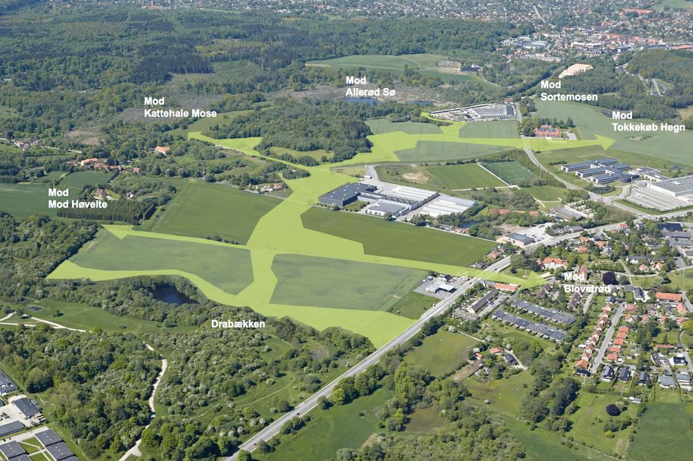 Som det fremgår af luftfotoet, er der tale om seks grønne kiler, der udgår fra det nye Blovstrød-område.Planen er udarbejdet i forbindelse med det netop nu forelagte udkast til en ramme-lokalplan for teglværkskvarteret, jf. nedenstående planer.