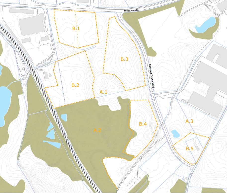 Rammelokalplanen inddeler området i 8 delområder som vist på kortet. 'A' er grønne områder og 'B' står for boligområder. På nedenstående plan er vist et oplæg til, hvordan de enkelte områder kan bebygges.