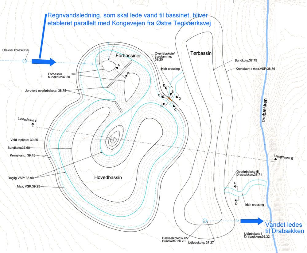 Som plantegningen er orienteret, ligger Kongevejen vandret - lige øverst for planen, og Drabækken (til højre) løbe på dette sted mod nord-øst. Plantegning: Forsyningen Allerød Rudersdal A/S